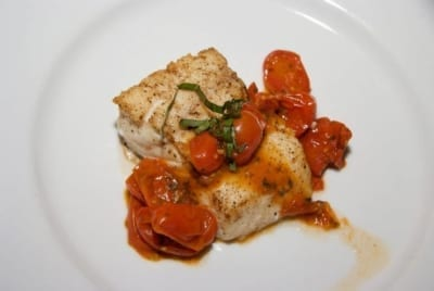 "Pan Seared Halibut with a Rustic Roasted Tomato ""Sauce"""