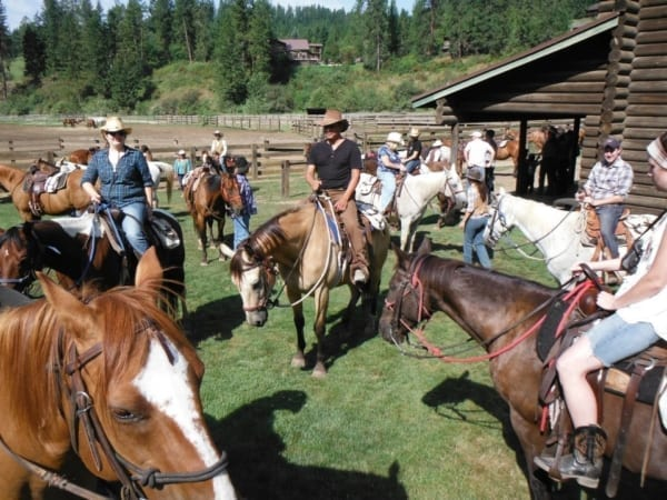 group of riders at the ranch