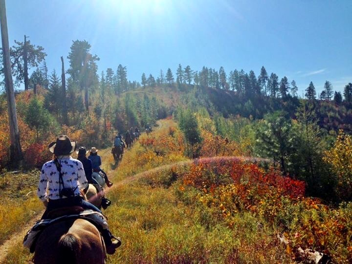 Women on group horseback trail ride through hills