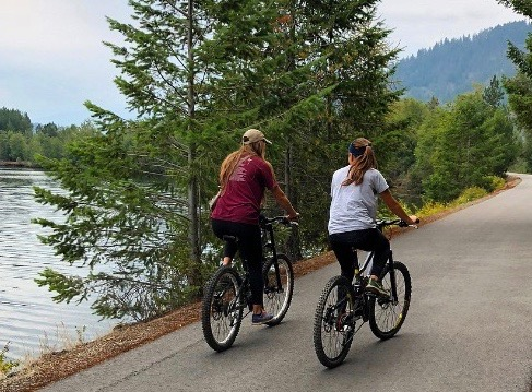 two cyclists on a bike trail