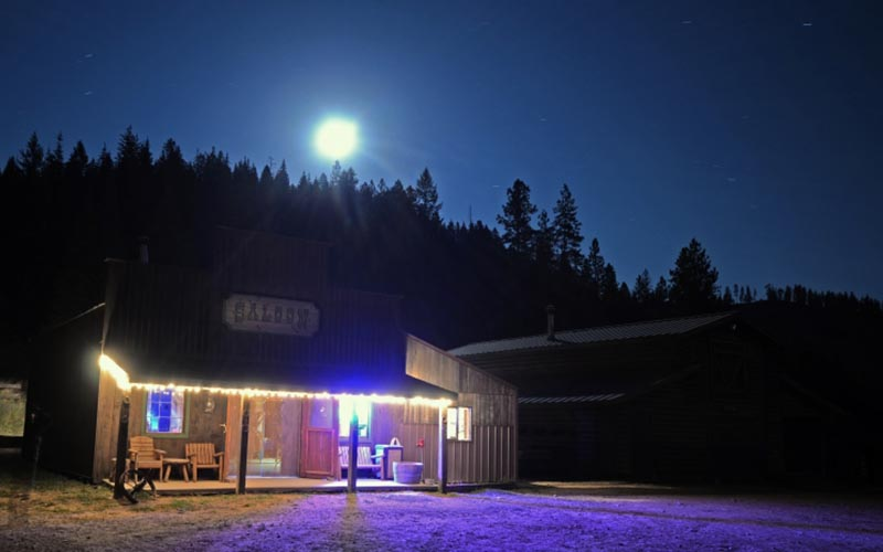 saloon at night