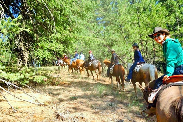group on horseback trail ride