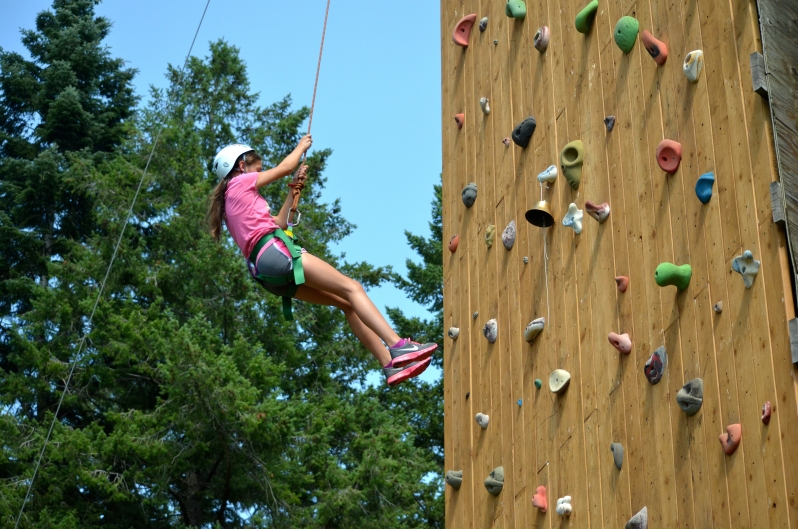 Person on climbing wall.