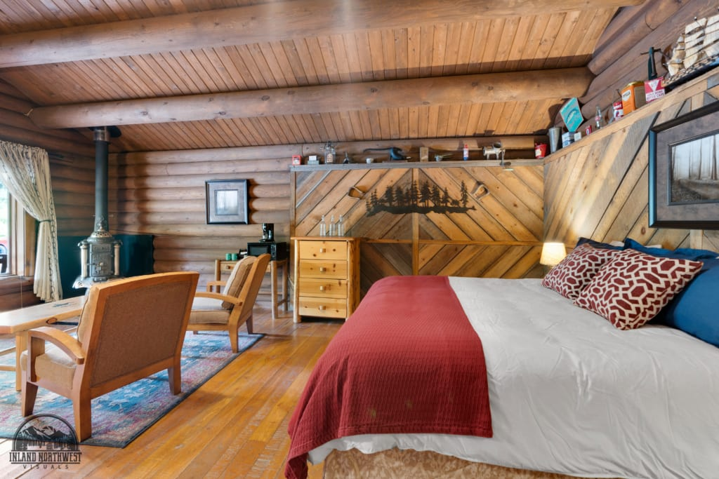 Old Post cabin bedroom and living room.